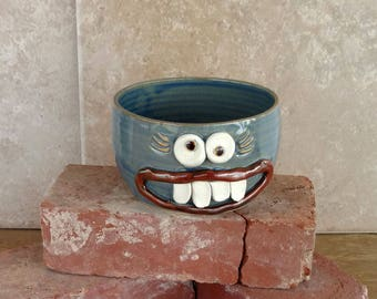 Happy Blue Lady's Cereal Bowl. Handmade Unique Gifts Made in Alabama by Nelson Studio. Microwave and Dishwasher Safe Stoneware Pottery