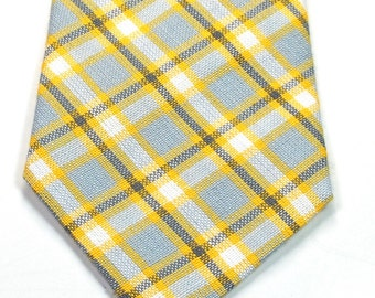 Yellow Neckties Mens Neckties Yellow and Grey Plaid Necktie Wedding Neckties Yellow Wedding Neckties Custom Neckties