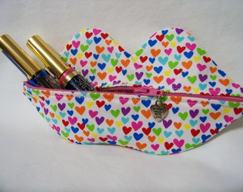 Zippy Lips in Hearts in Multi - Makeup Pouch - Coin Purse - Lipstick Pouch - Made To Order