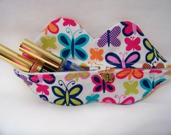 Zippy Lips in Sweet Butterfly in Jewel - Makeup Pouch - Coin Purse - Lipstick Pouch - Ready To Ship