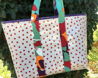 Large retro red polka dot/purple striped oilcloth tote bag