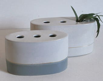 Handmade Pottery Vase; Ceramic Vase, White Pottery; Gold