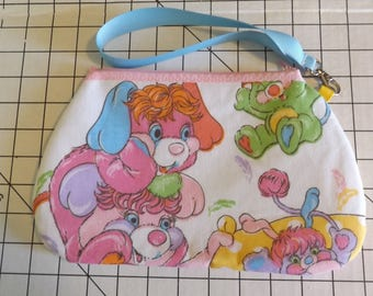 Popples Wristlet  / Pouch--Handmade-Vintage 80s Puffball, Pancake Party PJ