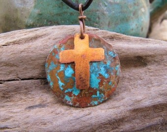 Copper Jewelry Cross Pendant Prayer for Peace on Earth