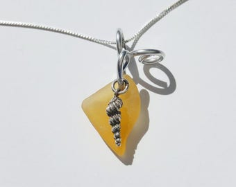Yellow Sea Glass Necklace handmade with sterling Auger shell and silver aluminum