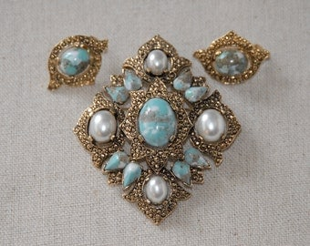 Sarah Coventry Vintage Gold, Turquoise, Pearl Demi Set, Large Brooch/Pendant and Earring Set, Signed Sarah Coventry Easter Egg