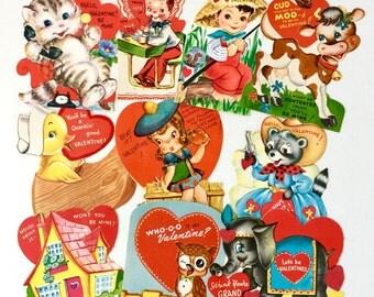 Vintage 1950s Valentine's Day Cards Set of 10 Medium Sized USED / Collectible Ephemera, Boys Girls Hearts, Animals Anthropomorphic
