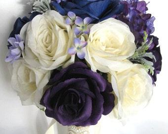 """Wedding Bouquet 17 Piece Package Bridal Silk flower Bouquets NAVY blue PURPLE Vintage Lace Wedding decoration Centerpiece """"RosesandDreams"""""""