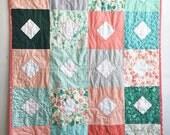 Modern Patchwork Quilt : Diamonds in the Sea, Baby Quilt, Throw Quilt, Lap Quilt, Kid's Quilt, Toddler Quilt