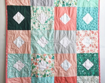 Modern Patchwork Quilt : Diamonds in the Sea, Baby Quilt, Throw Quilt, Lap Quilt, Kid's Quilt, Toddler Quilt