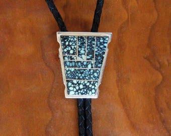 Zuni Bolo Tie Inlaid Spiderweb Turquoise Larry Chavez