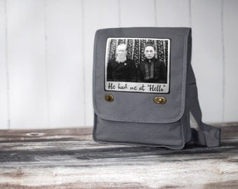 Field Bag / Messenger Bag - Canvas Bag -  He Had Me at Hello - Vintage Photo