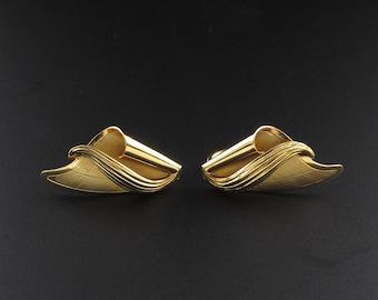 Gold Filled Earrings, Gold Ribbon Earrings, Retro Earrings, Curl Earrings, Abstract Earrings, Gold Earrings