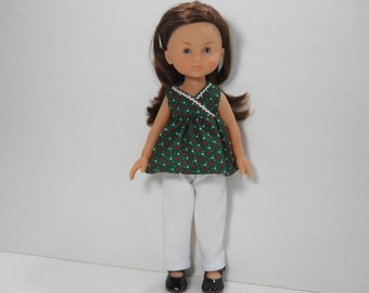 Designed for 13 inch dolls like Les Cheries doll clothes, Two Piece Outfit, Green Heart Top and White Knit Pants, 01-1797
