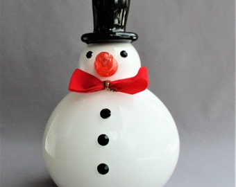 Hand Blown Art Glass Snowman with Black Hat and Fabric Red Bow.