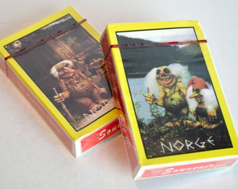 Vintage NORGE Playing Cards Two Sealed Boxes Norse Mythology Trolls