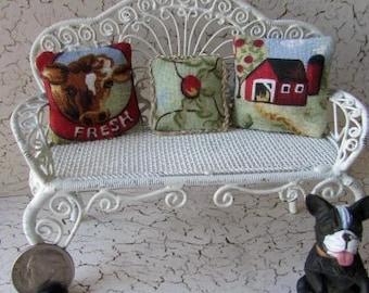 ooak dollhouse Miniature Farm Cow Barn  Apple pillow set