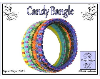 Beading Pattern, Tutorial, Tila beads, Bangle - CANDY