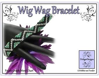 Beading Pattern, Tutorial, Bracelet - WIG WAG