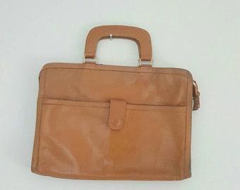 Vintage Brown Leather Ipad or small Macbook Tote