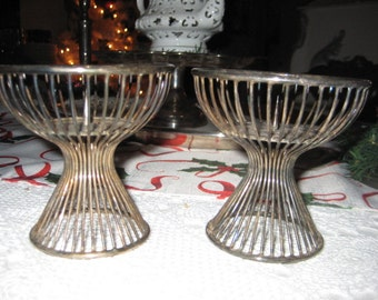 Danish Modern Candle Holders/Mid Century Modern Silver Tone Candle Holders