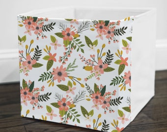 Sprigs and Blooms // Storage Bin Cover // Fits into Ikea KALLAX or EXPEDIT shelf unit  // Ikea DRONA Box Cover