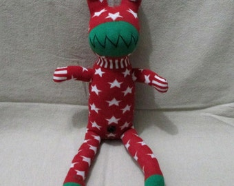 Super Deal Christmas Handmade Green & Red Sock Frog Stuffed Animal Doll Baby Toys Gift