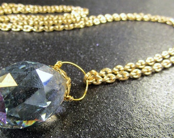 Wire wrapped Large Smoke Faceted Crystal with gold chain necklace