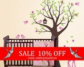Sale - Tree with Birds and Fawn Decal Set - Kid's Nursery Room Wall Sticker
