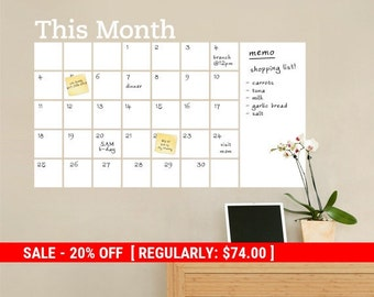 Holiday Sale - Dry Erase Wall Calendar with Memo - Vinyl Wall Decal