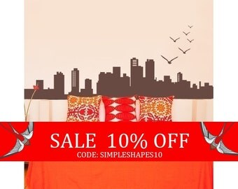 Sale - City Skyline Decal - Vinyl Wall Decal