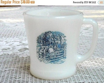 Shop Closing Sale Vintage Fire King Mug Milk Glass Coffee Tea