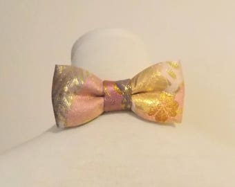 Men's bow tie made with KIMONO gold brocade pink lavendar lilac flower hishi pattern fits 15 -20inch ready to ship