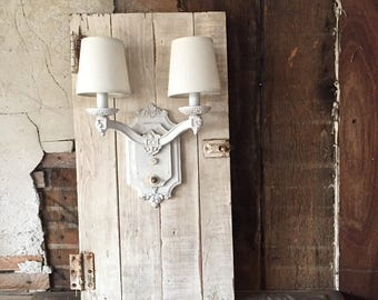 On hold for L   Lighting| Paris apartment| shabby farmhouse | wall sconce ivory linen