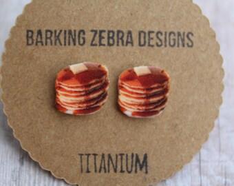 Pancake Earrings | Pancake Studs | Food Earrings | Pancake Jewelry | Titanium | Hypoallergenic | Nickel Free | Food Studs | Food Jewelry