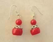Real Red Coral & Silver Earrings, by SandraDesigns