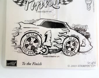 Stampin' Up To the Finish stamp set, retired rubber stamps, race car racing, card making, craft stamping supplies, wood mounted scrapbooking