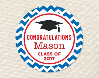 Graduation Stickers (Chevron) - Choose Your Own Colors - Sheet of 12 or 24