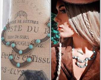 70s Hippie Chic Necklace, Spell And Gypsy Bohemian Gypsy Choker Necklace, Handmade Jewelry, Festival Style Boho Jewelry, True Rebel Clothing