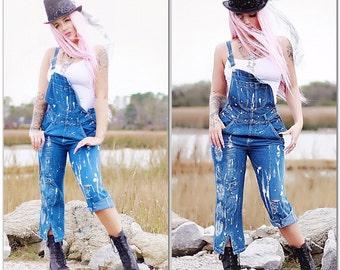large Boho Adult bibs, Bohemian festival bibs, Painted bib overall jeans, Romantic Parisian chic artisan painted jeans, True rebel clothing