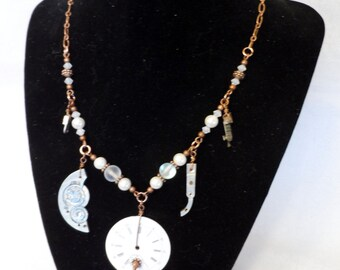 A Dangle in Time Necklace - Moonstone, Pearl and Copper