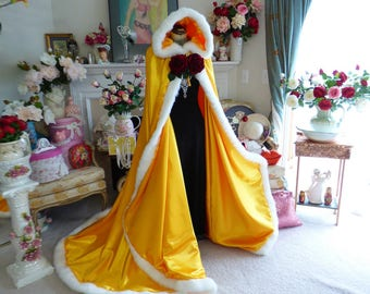 Belle Inspired Beauty and the Beast Bridal Cape 52/67inch Yellow (Saffron) Satin wedding cloak fur trimmed Hooded Reversible Handmade in USA