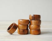 Vintage Wood Napkin Rings, Set of 8