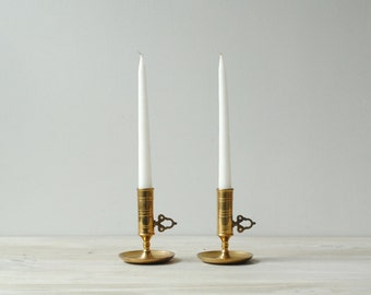 Vintage Brass Candle Holder Set, Push Up Candle Holders