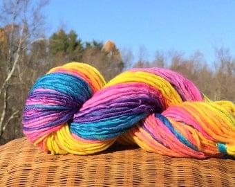 Rainbow yarn, handspun worsted weight  - 65 yards, 1.1 ounce, 31 grams