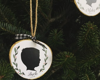 Custom Personalized Child silhouette portrait ornament, Chrismtas gift, baby's first christmas, grandparent gift