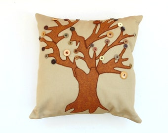 Fall pillow, button pillow, appliqued pillow with button leaves, brown rust colors, Autumn home decor, decorative pillow, throw pillow