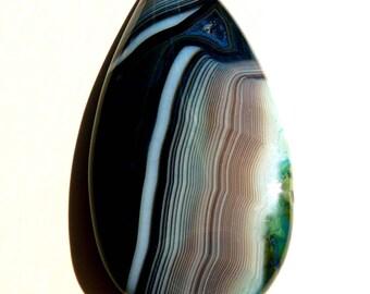 Gemstone Pendant Onyx Agate Pendant Bue Pendant Teardrop Pendant Swirl Pendant Agate Bead Gemstone Bead Blue Bead Teardrop Bead