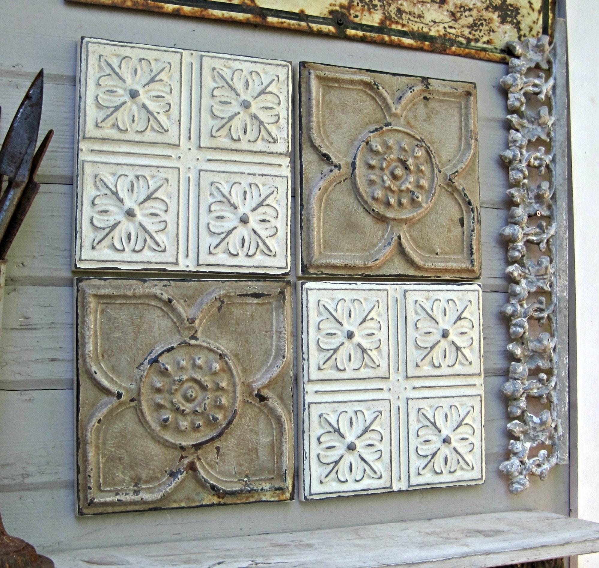 Antique Tin Ceiling Tiles Set Of 4 Framed Rustic Amp Chippy