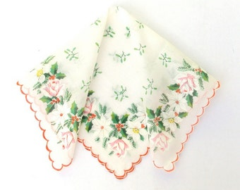 Handkerchief, Holly and Roses, Christmas, Holiday, Red Green White, Hand Painted, Vintage